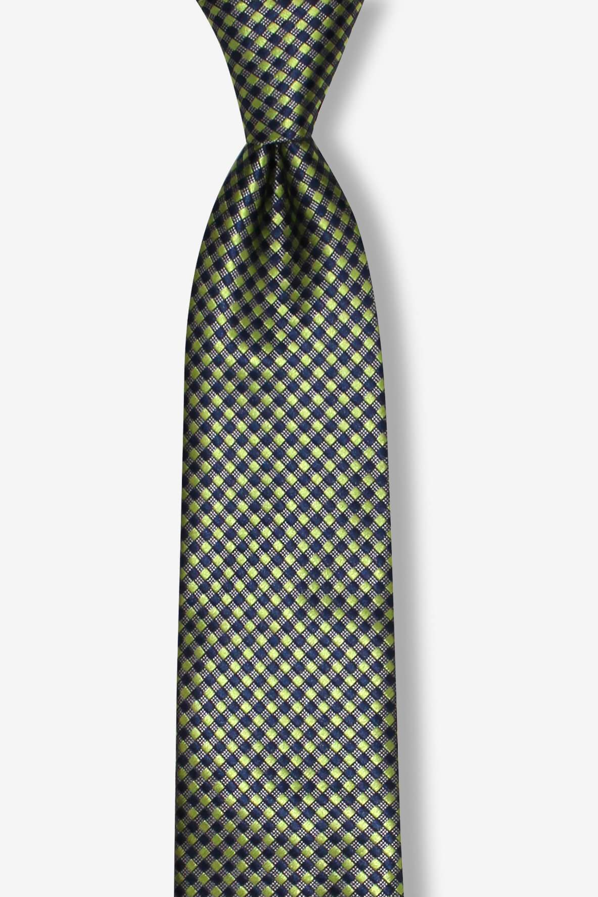 Green Blue Small Checkered Skinny Pre-tied Tie, Tie, GoTie