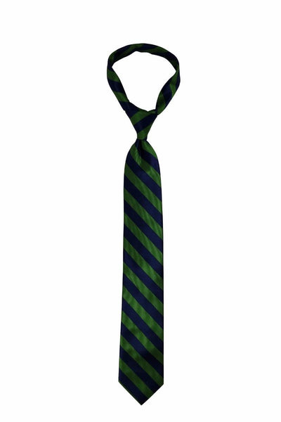 Green Navy Blue Striped Skinny Pre-tied Tie, Tie, GoTie