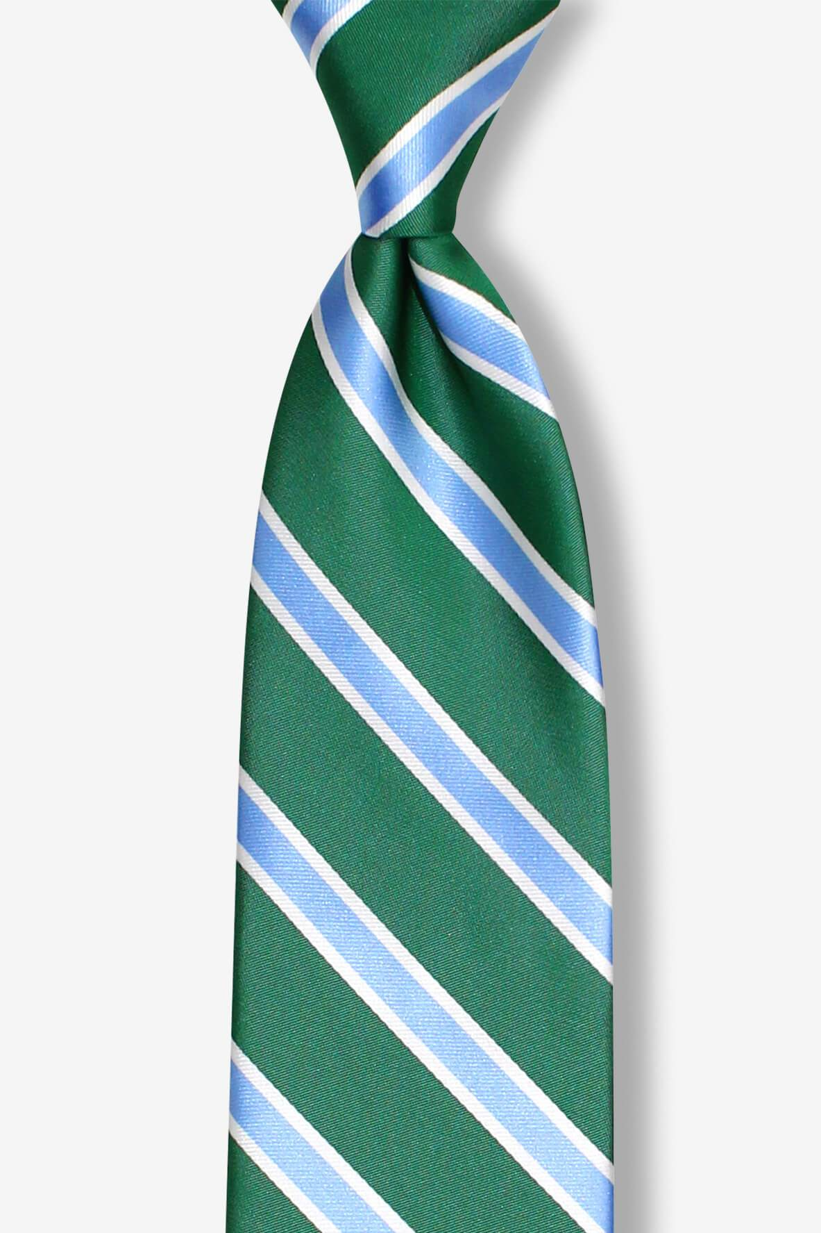 Green with Blue White Stripes Pre-tied Tie, Tie, GoTie