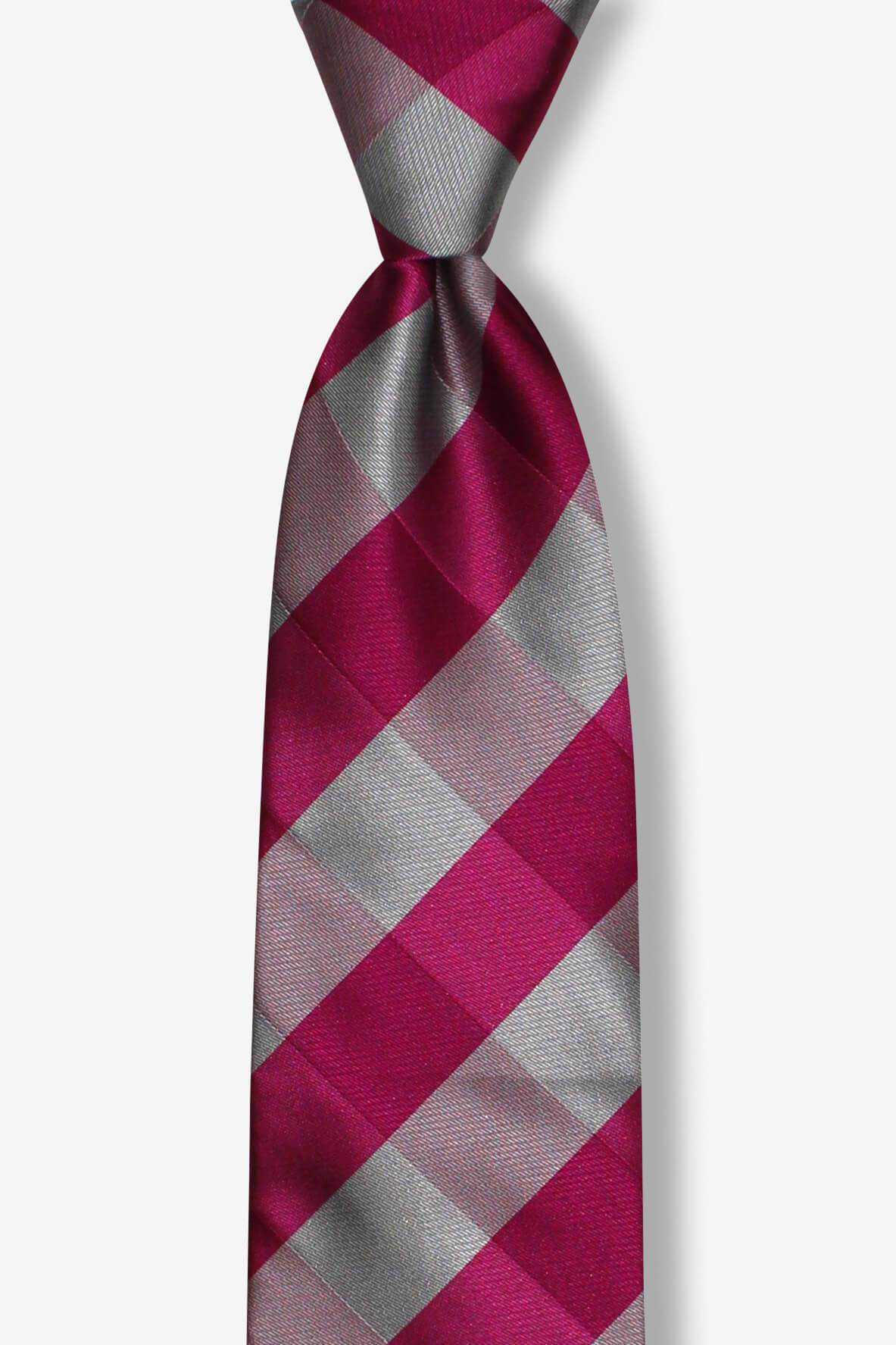 Large Plaid Pink and Gray Pre-tied Tie, Tie, GoTie