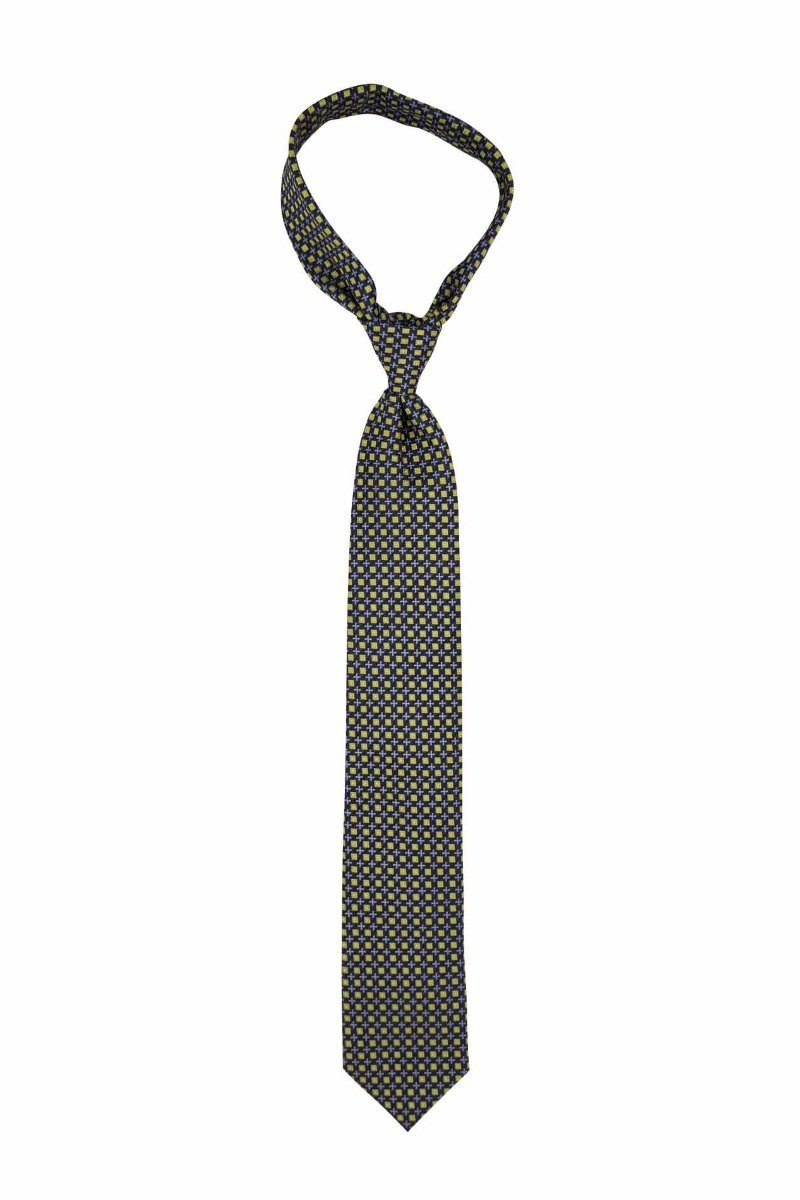Light Blue and Yellow Geometric Pre-tied Tie, Tie, GoTie