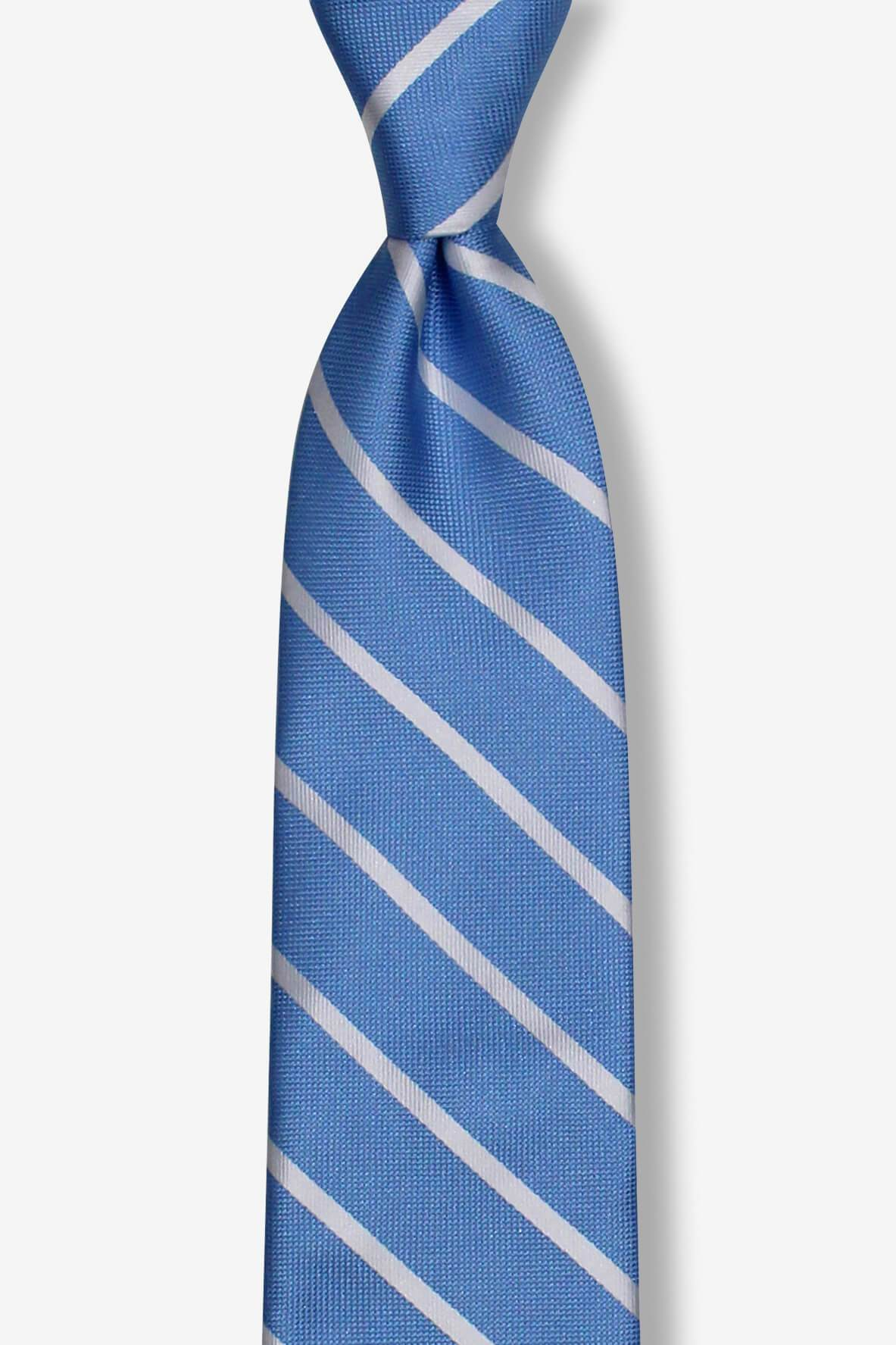 Light Blue with Silver Stripes Skinny Pre-tied Tie, Tie, GoTie