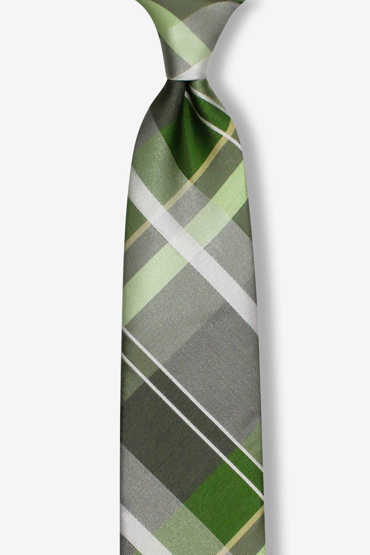 Light Green Plaid Skinny Pre-tied Tie, Tie, GoTie