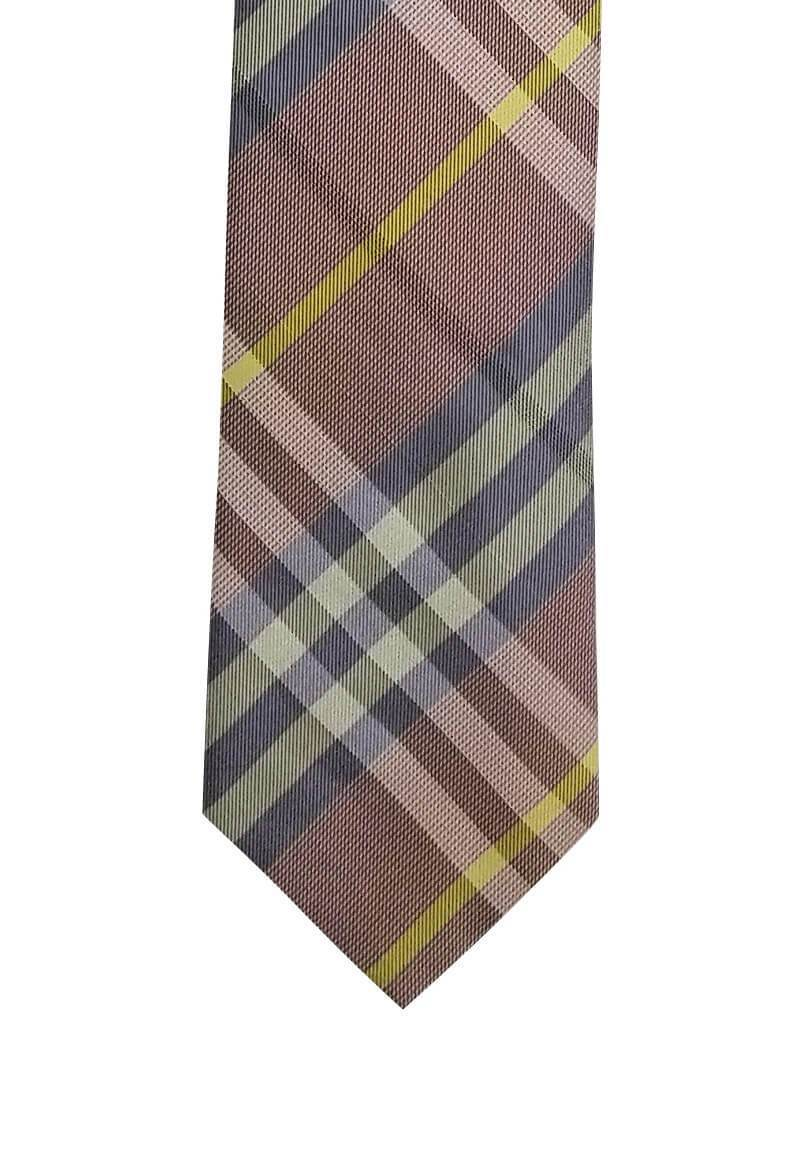 Light Pink Plaid with Gold Stripe Pre-tied Tie, Tie, GoTie