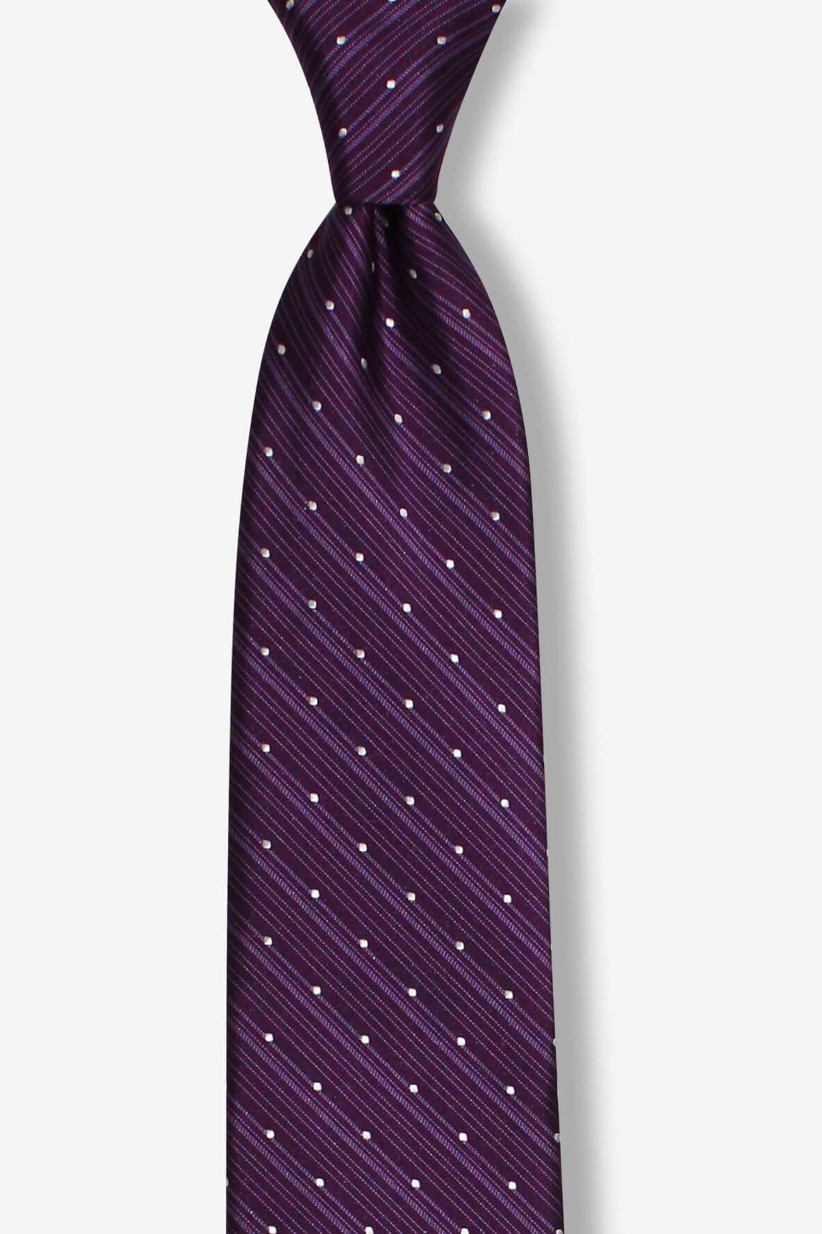 Purple White Dots and Stripes Skinny Pre-tied Tie, Tie, GoTie