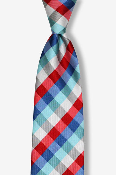 Red Blue Green Striped Plaid Pre-tied Tie, Tie, GoTie