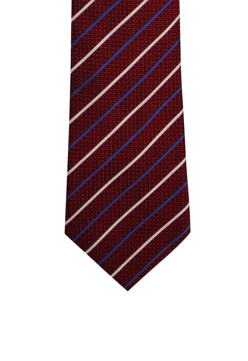 Red with Thin Blue White Stripes Pre-tied Tie, Tie, GoTie