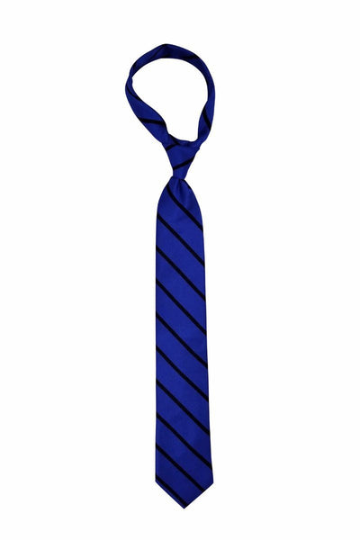 Steel Blue with Navy Stripe Skinny Pre-tied Tie, Tie, GoTie