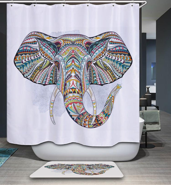 Colorful Elephant Shower Curtain With Hooks