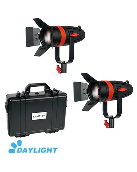 2 Pcs CAME-TV Boltzen 55w Fresnel Focusable LED Daylight Kit