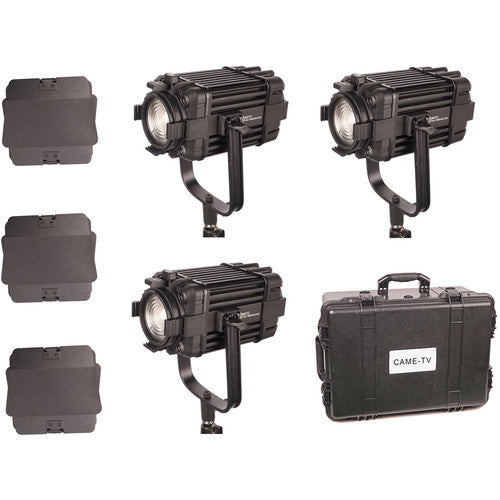 3 Pcs CAME-TV Boltzen 60w Fresnel Fanless Focusable LED Bi-Color Kit