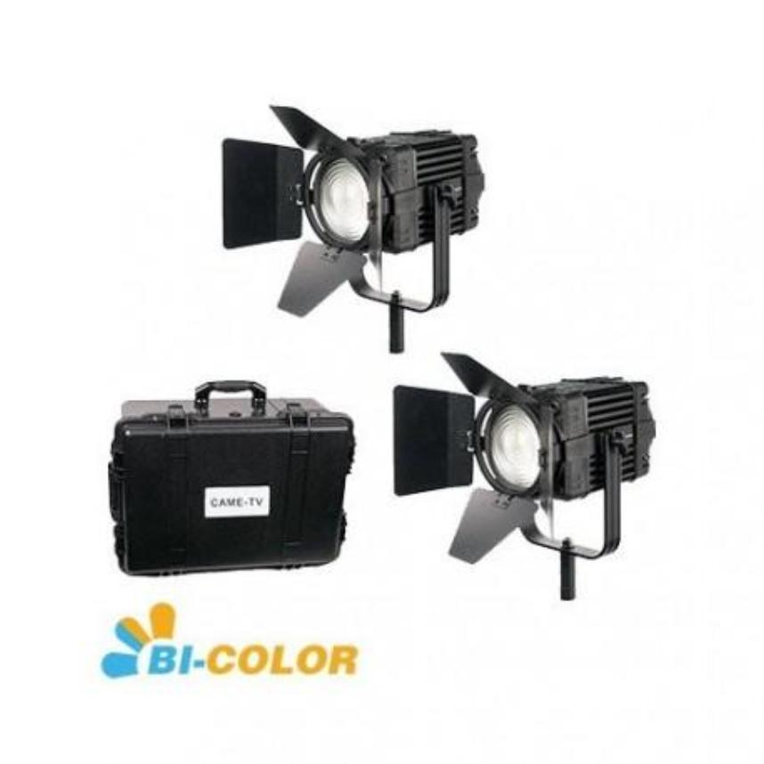 2 Pcs CAME-TV Boltzen 100w Fresnel Fanless Focusable LED Bi-Color Kit