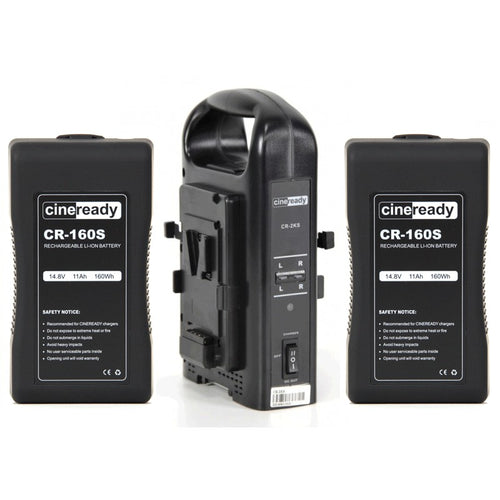 2x Cineready 160Wh V-Mount Battery + Dual Charger Kit