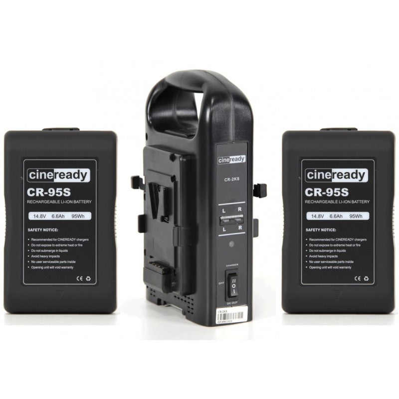2x Cineready 95Wh V-Mount Battery + Dual Charger Kit