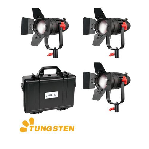 3 Pcs CAME-TV Boltzen 30w Fresnel Fanless Focusable LED Tungsten Kit