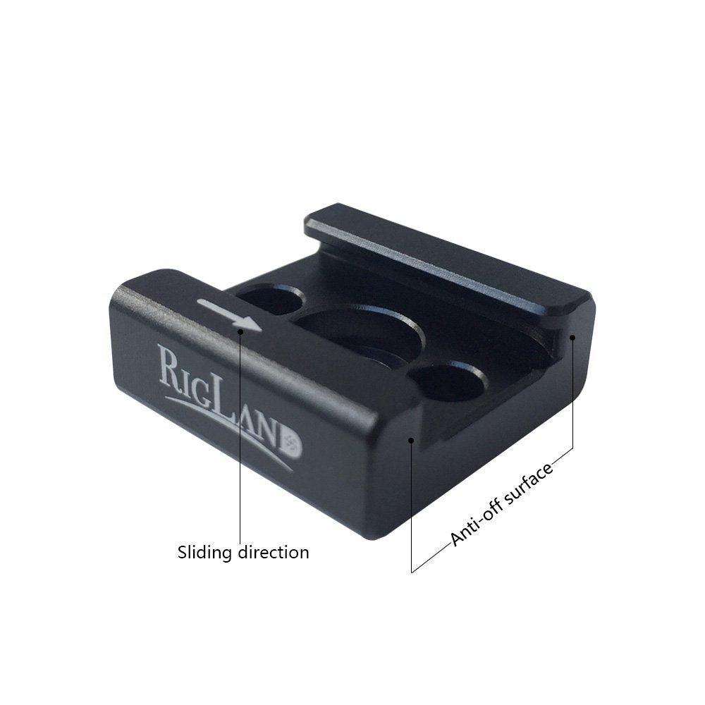 "RigLand Cold Shoe Mount Adapter Hot Shoe Mount with 1/4""-20 thread for DSLR Camera Flash Led Light Monitor Video Microphone-669"