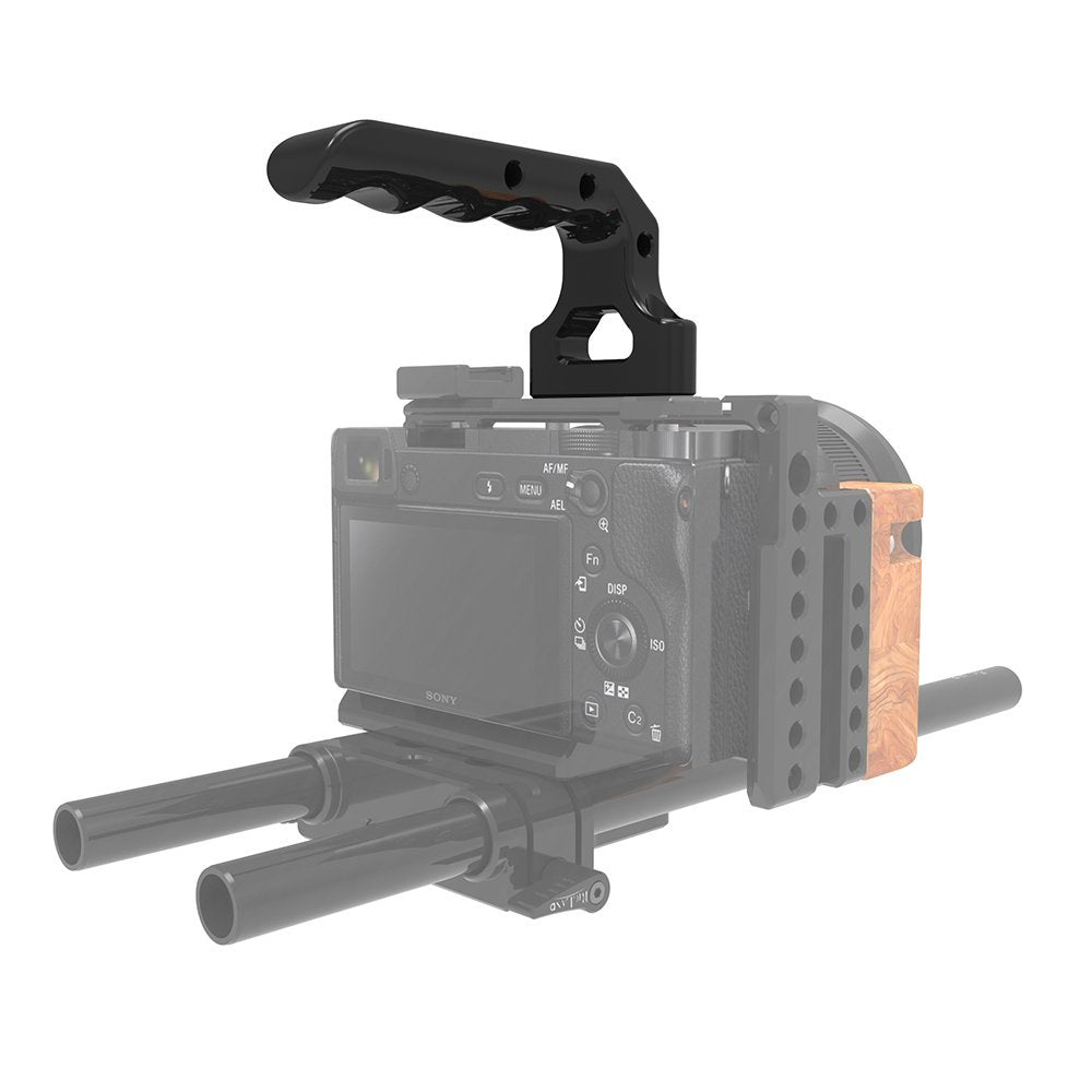 "RigLand Generic Top Handle - Camera Cheese Handle with Many 1/4""-20 and two ARRI 3/8"" Threaded Holes for RED Camera and Other Devices - 675"
