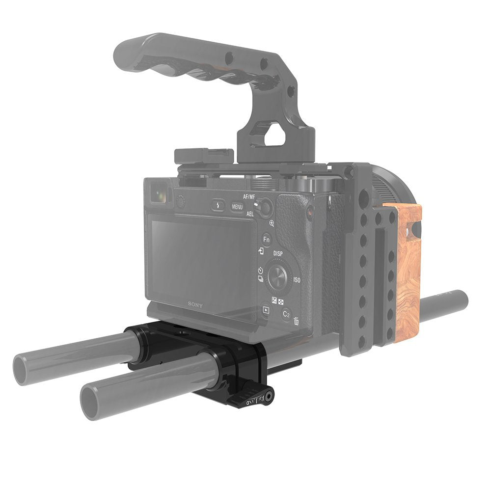 RigLand Camera Base Plate with 15mm Rod Rail Clamp For Sony FS7, Sony A7 Series, Canon C100/C300/C500, Mini Blackmagic URSA and others DSLRs etc - 674