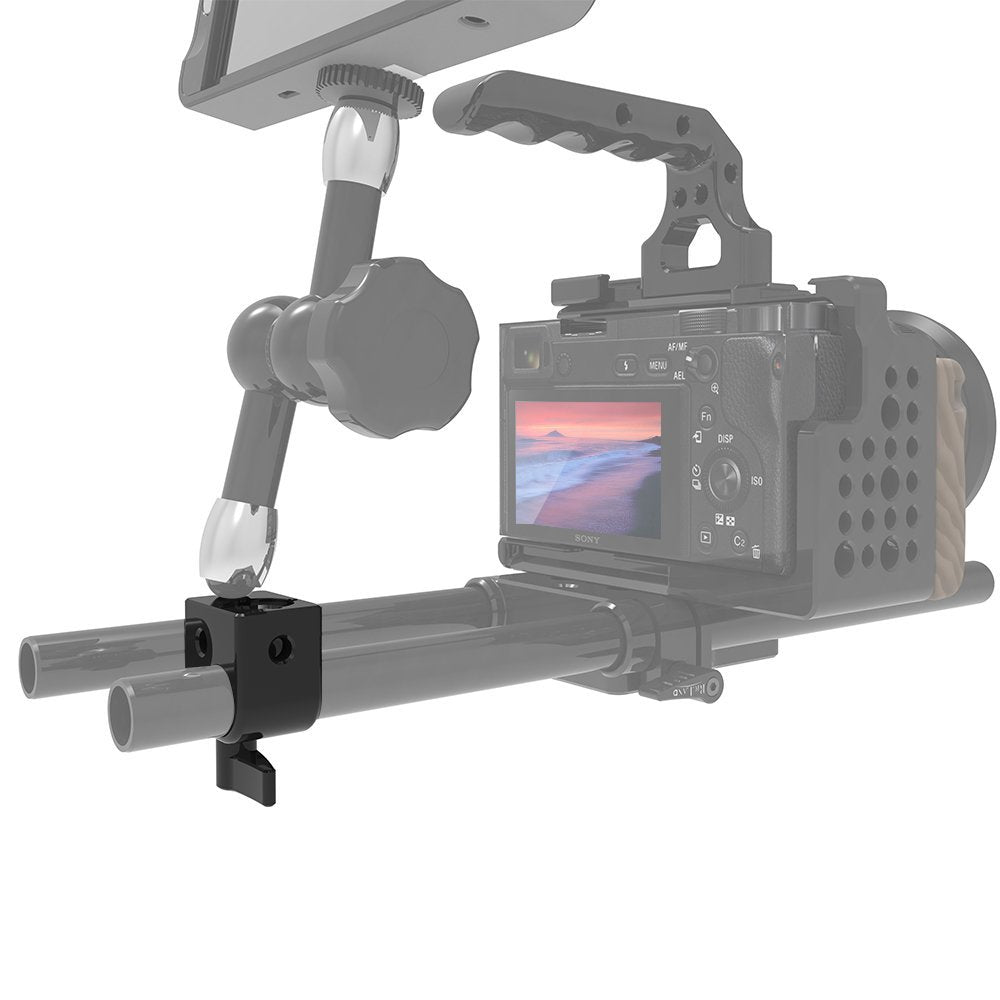 RigLand Single 15mm Rod Clamp/Rail Block with ARRI Accessory Mount for EVF Mount Microphone Mount Monitor Mounts - 673