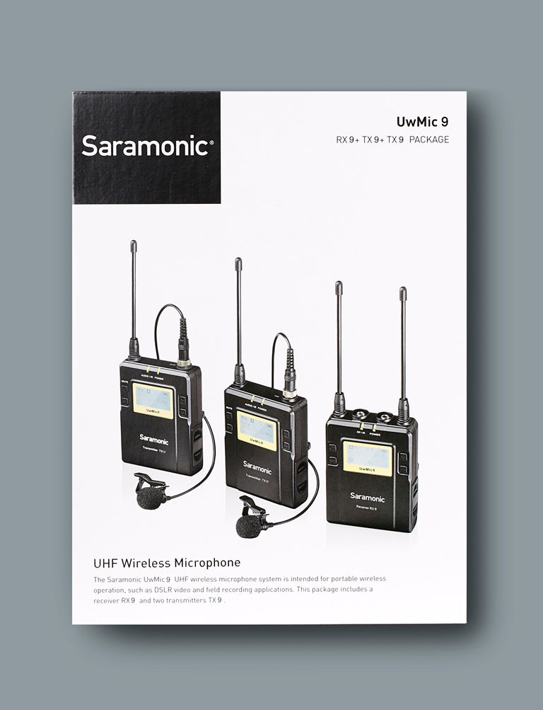 Saramonic UWMIC9 96-Channel Digital UHF Wireless Lavalier Microphone System TX9+TX9+RX9