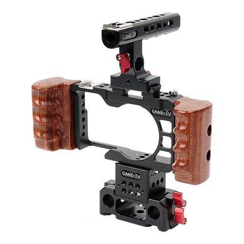CAME-TV Rig For Sony A6300 / A6500 Camera Cage With Wooden Handle