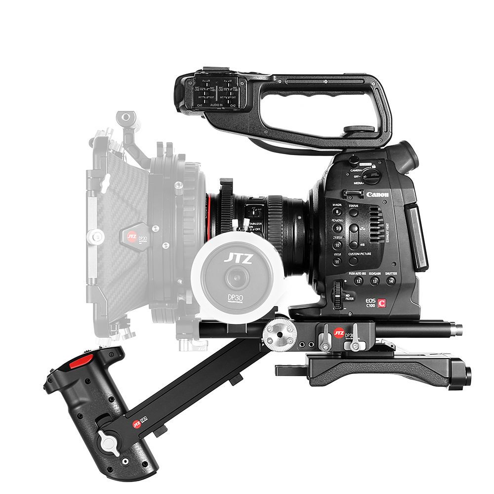 JTZ DP30 camera 15mm rail base plate + hand grip + shoulder support rig for Canon EOS Cinema camera C100 C200 C300 Mark II with JTZlink