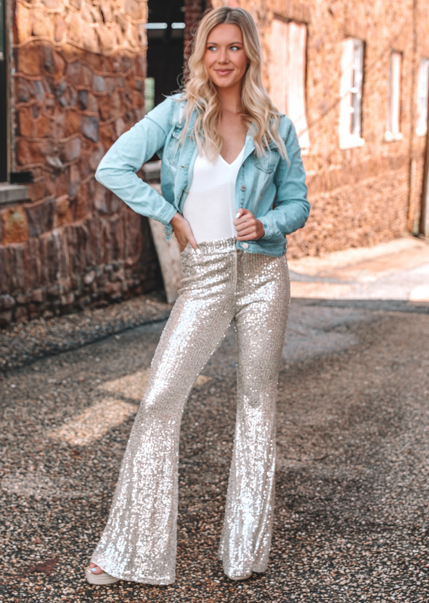 SEQUIN FLARE PANTS