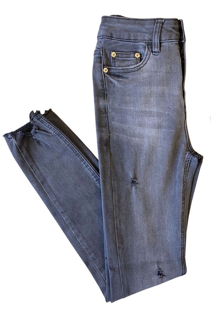 JUST JUDY DISTRESSED SKINNY JEAN WITH FRAYED HEM