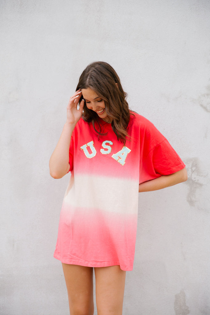 USA DIP DYE T-SHIRT DRESS