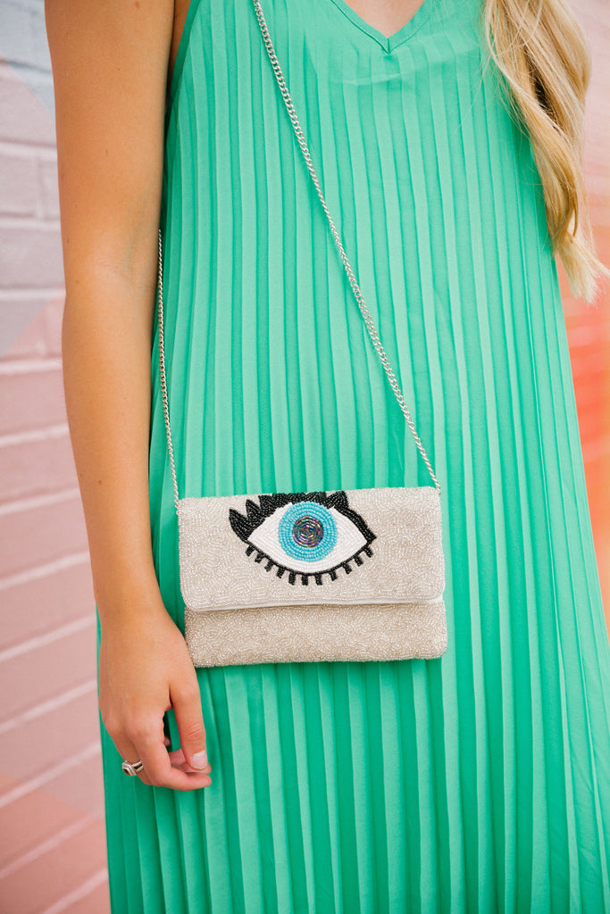 ALL EYES ON YOU BEADED CLUTCH