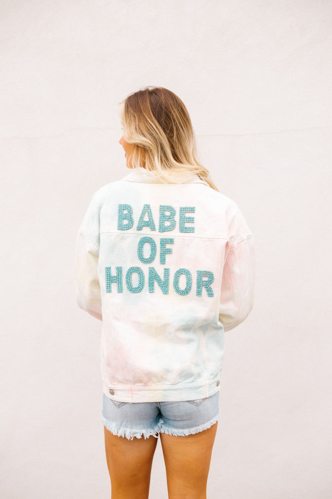 BABE OF HONOR TIE DYE DENIM JACKET