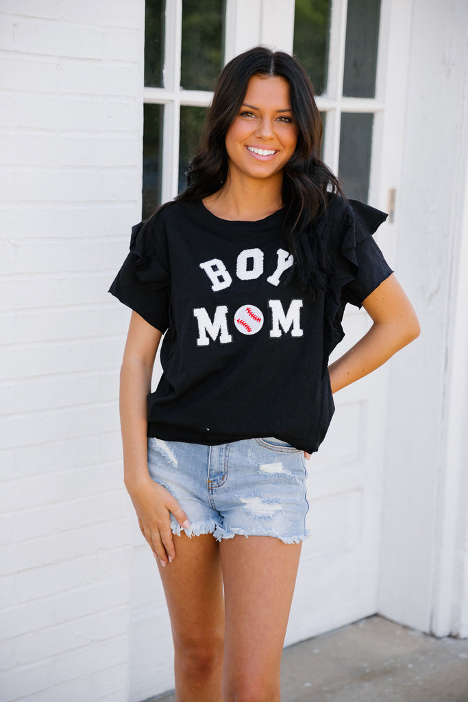 BOY MOM RUFFLE TEE