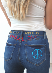 ALL YOU NEED IS LOVE STITCHED DENIM