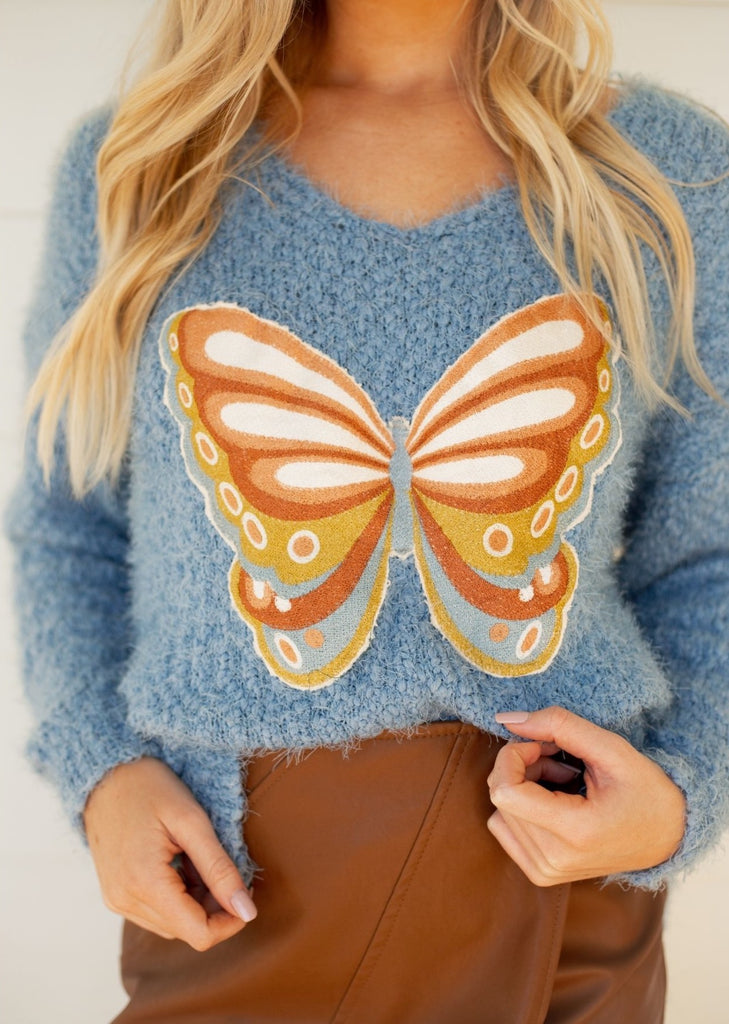 BUTTERFLY POPCORN KNIT SWEATER