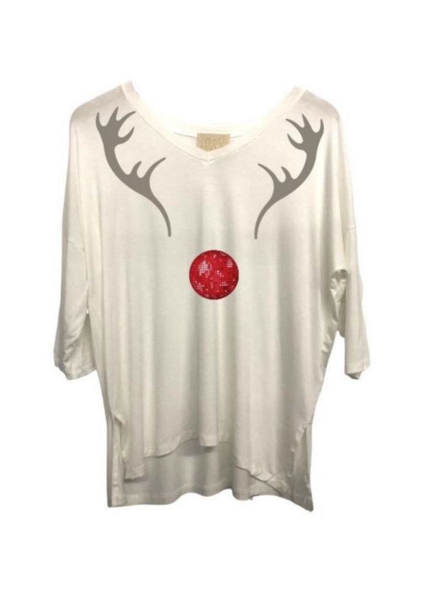 DISCO REINDEER 3 QUARTER LENGTH TEE