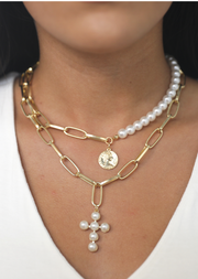 LINK PEARL CROSS NECKLACE