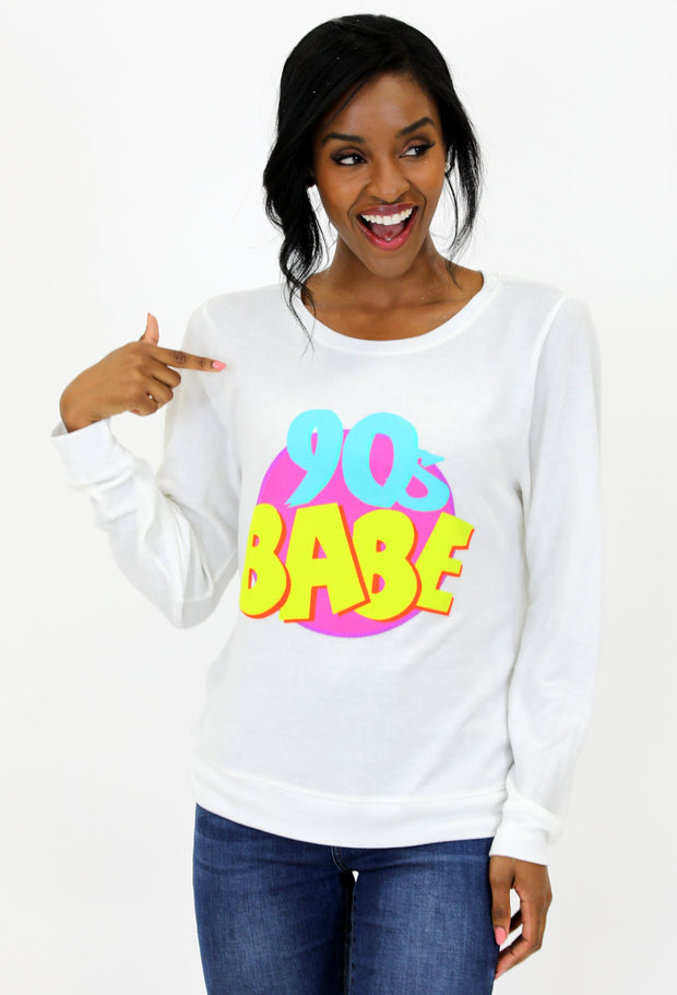 "OFF WHITE SWEATSHIRT W/ ""90'S BABE"""