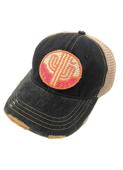 Judith March Orange and Pink Cactus Navy Hat