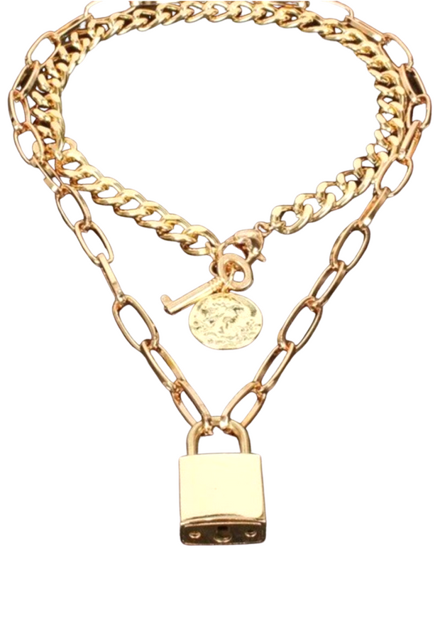 LOLA LOCK PENDANT CHAIN NECKLACE