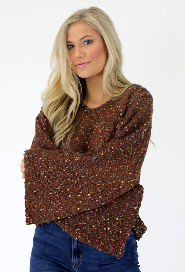 BROWN CONFETTI POP! TOP