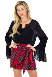 PENNY LANE PLAID WRAP SKIRT