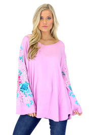 ZEN GARDEN ENZYME WASHED TUNIC W/CHERRY BLOSSOM FLORAL EMBROIDERY