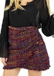 "THE ""AS IF"" TWEED WRAP SKIRT"