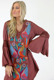 METALLIC BOHO BIRD EMBROIDERED DRESS
