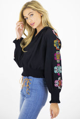 KALEIDOSCOPE EMBROIDERED SMOCKED TOP