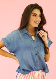 SHORT SLEEVE DENIM TOP