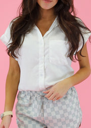 SHORT SLEEVE WHITE LINEN TOP
