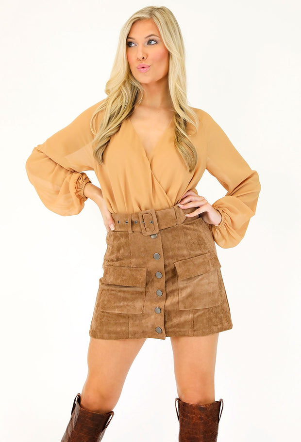 SWINGING SUEDE BUTTON UP SKIRT