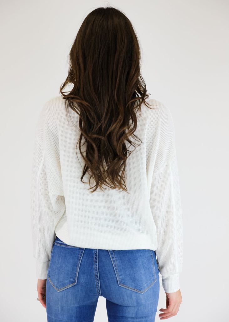 THE CLEARLY COZY WAFFLE KNIT TOP