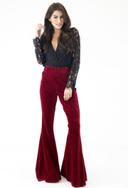 CRANBERRY CORD KNIT FLARE PANT